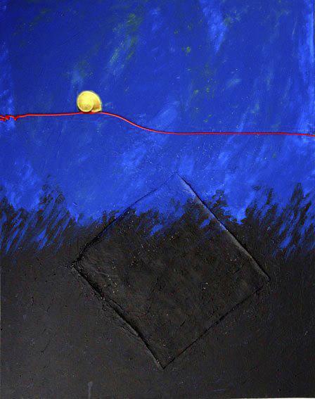 La delgada línea roja, acrílico sobre lienzo.