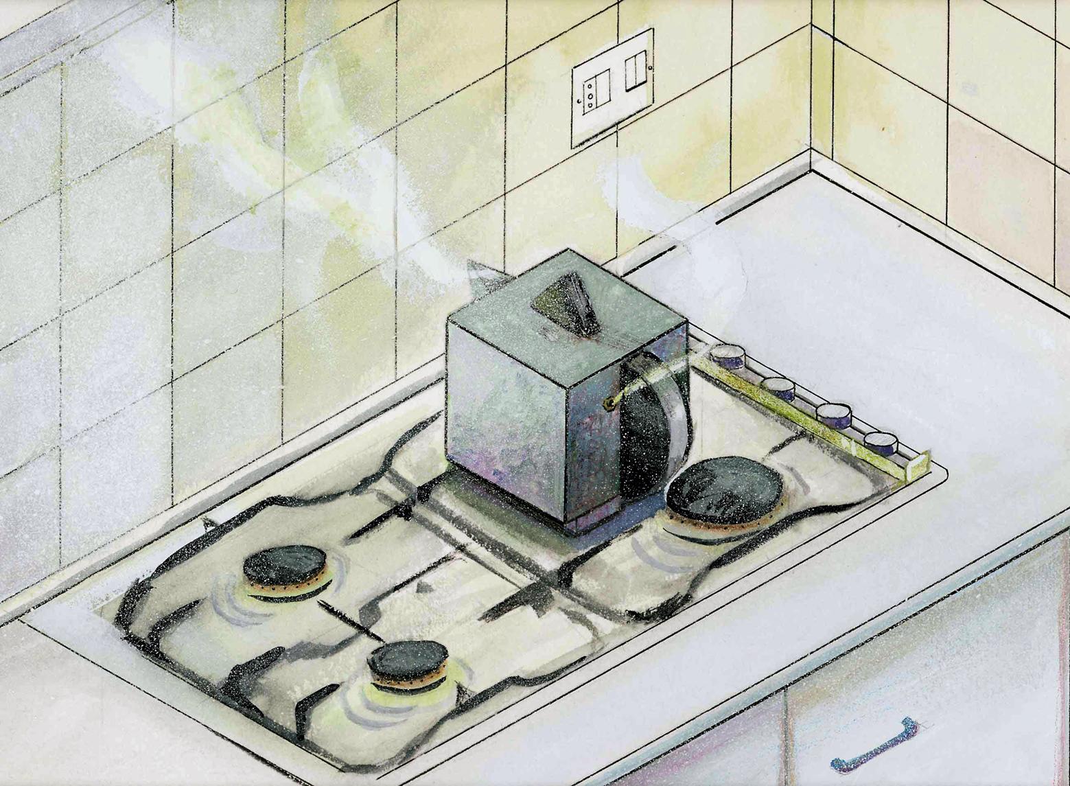 Cafetera en isométrica