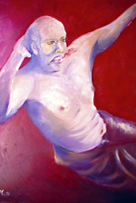 Judoka, óleo sobre lienzo.