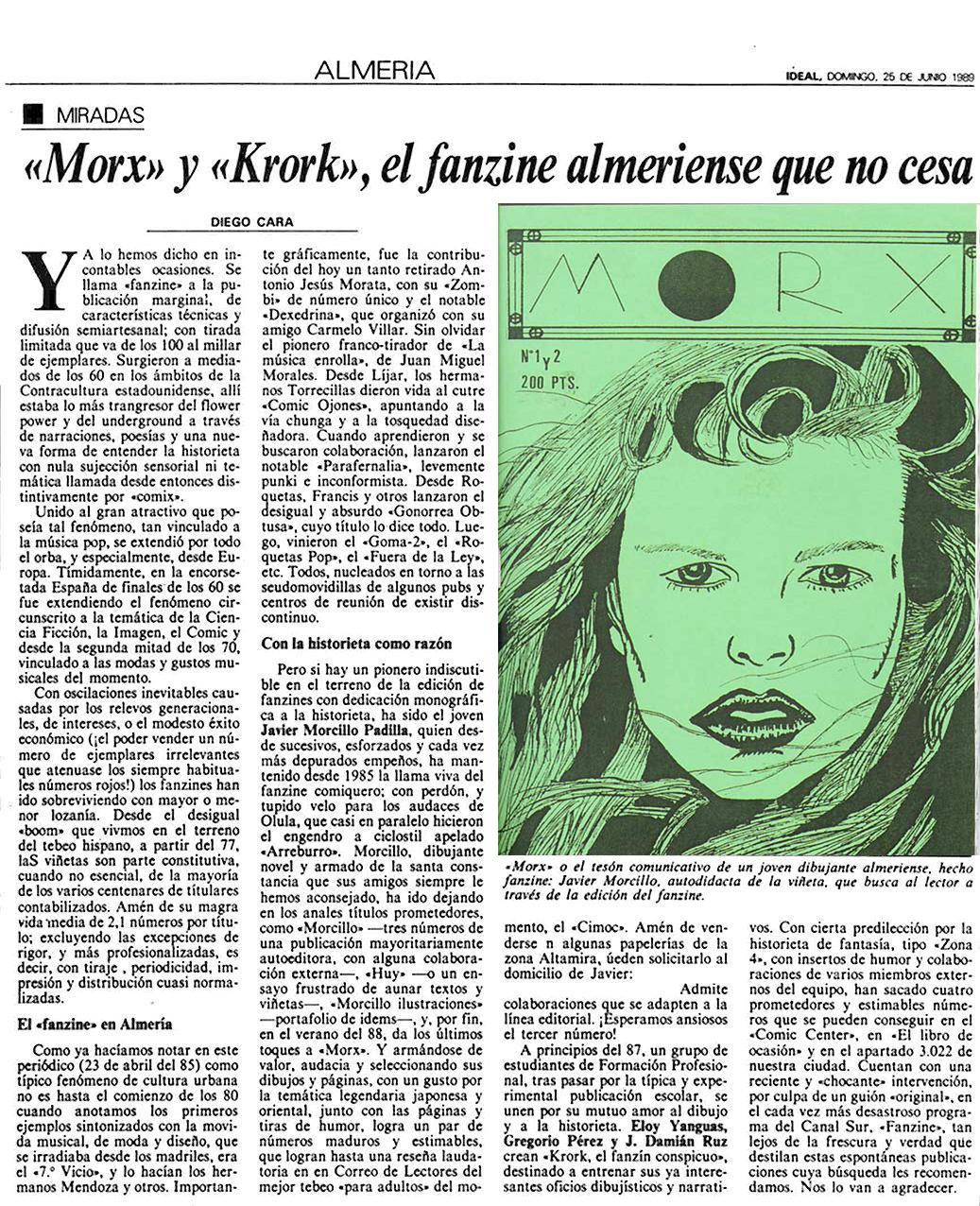 Artículo de Ideal sobre el comic en Almería.