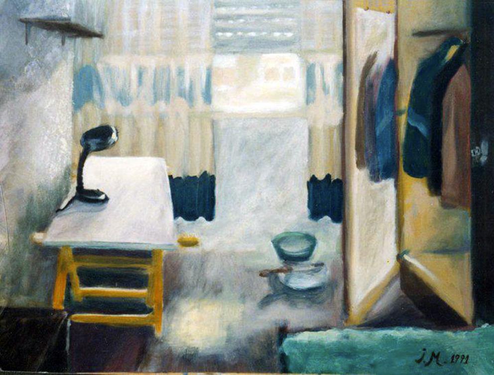 La habitación del artista, encáustica sobre lienzo.