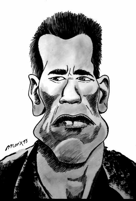 Caricatura de Arnols Schwarzenegger.